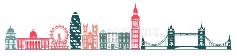 Fondo de la silueta del horizonte de la ciudad de Londres ilustración del vector