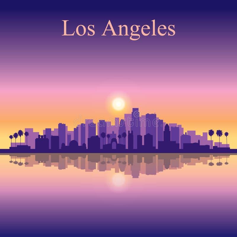 Fondo de la silueta del horizonte de la ciudad de Los Ángeles stock de ilustración