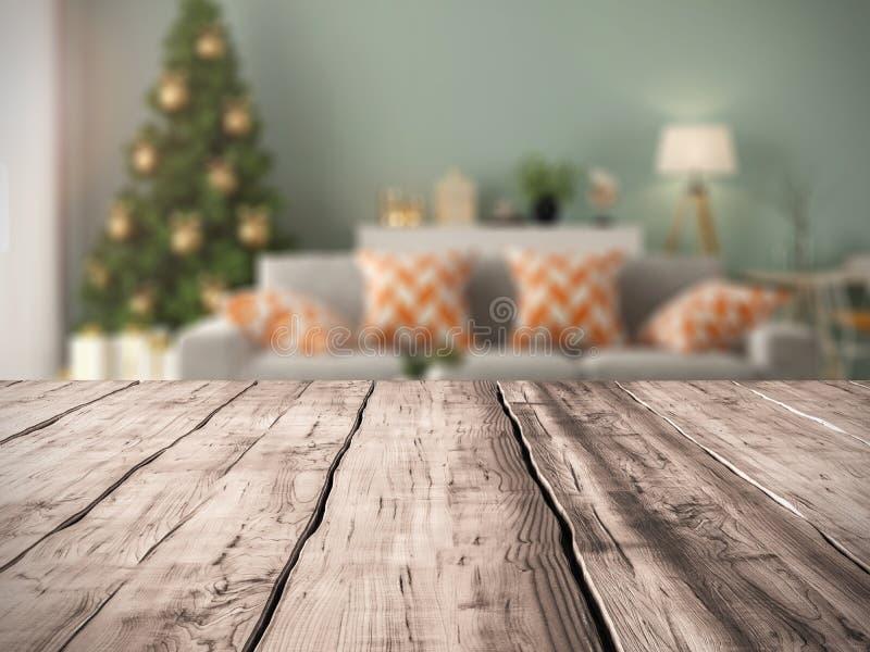 Fondo de la tabla e interior de la sala de estar moderna con la representación del árbol de navidad 3D imagen de archivo libre de regalías