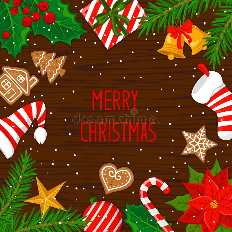 Fondo de la tarjeta de felicitación del invierno de la Feliz Navidad y de la Feliz Año Nuevo con los elementos de la decoración d stock de ilustración