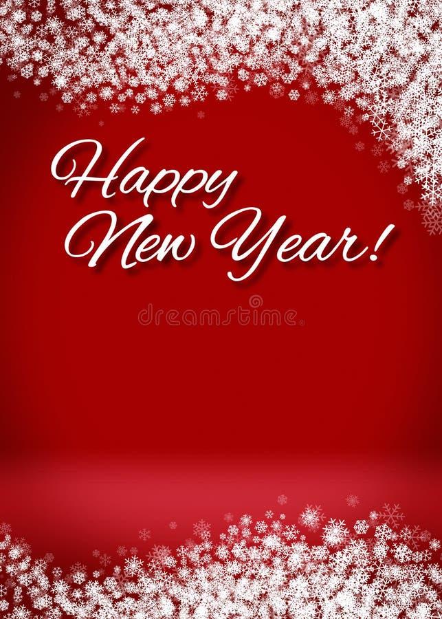 Fondo de la tarjeta de la Feliz Año Nuevo 3D Nevado fotos de archivo