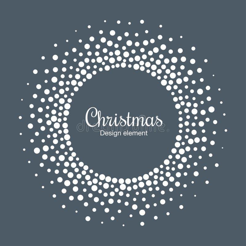 Fondo de la tarjeta del Año Nuevo 2019 Marco del círculo de la escama de la nieve El copo de nieve redondo de semitono punteó el  libre illustration