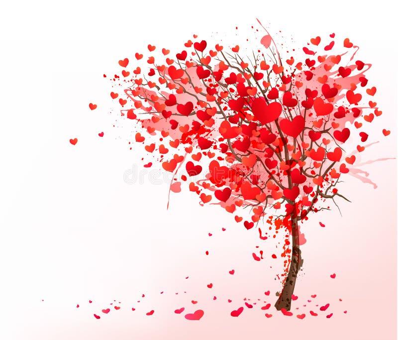 Fondo de la tarjeta del día de San Valentín con el árbol en forma de corazón stock de ilustración