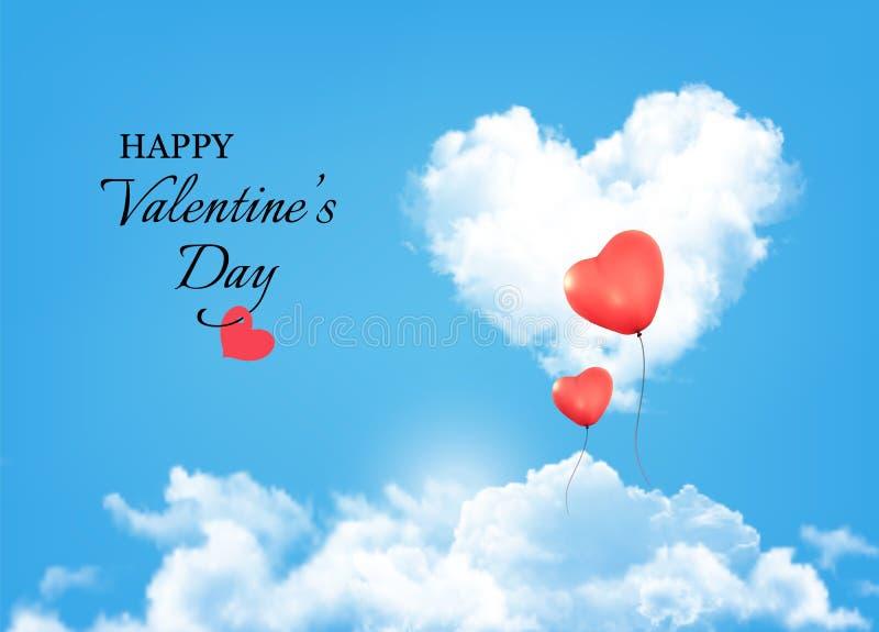 Fondo de la tarjeta del día de San Valentín con las nubes y los globos del corazón ilustración del vector