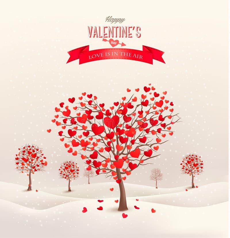 Fondo de la tarjeta del día de San Valentín con los árboles en forma de corazón stock de ilustración