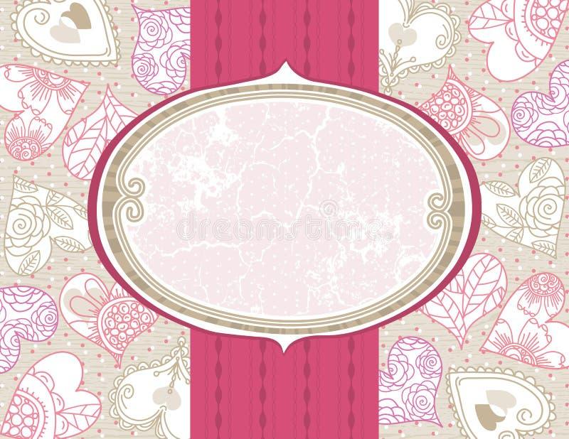 Fondo de la tarjeta del día de San Valentín con los corazones del color ilustración del vector