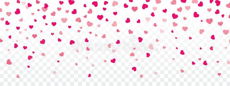 Fondo de la tarjeta del día de San Valentín con los corazones que caen en transparente libre illustration