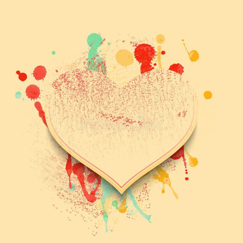 Fondo de la tarjeta del día de San Valentín con los corazones y los puntos de la pintura en colores suaves del vintage stock de ilustración