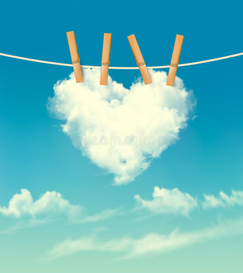 Fondo de la tarjeta del día de San Valentín con una nube en forma de corazón libre illustration