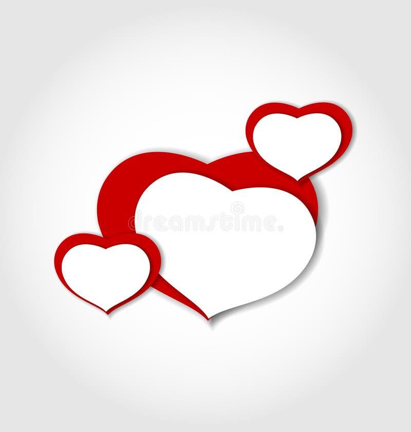 Fondo de la tarjeta del día de San Valentín hecho de etiquetas engomadas de los corazones ilustración del vector