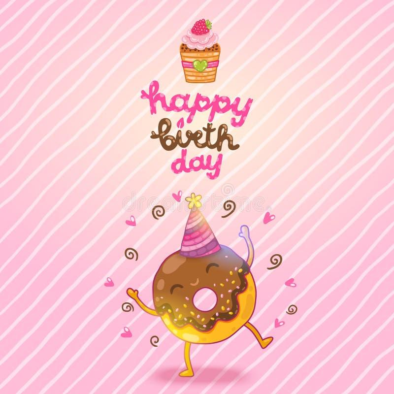 Fondo de la tarjeta del feliz cumpleaños con el buñuelo lindo. stock de ilustración