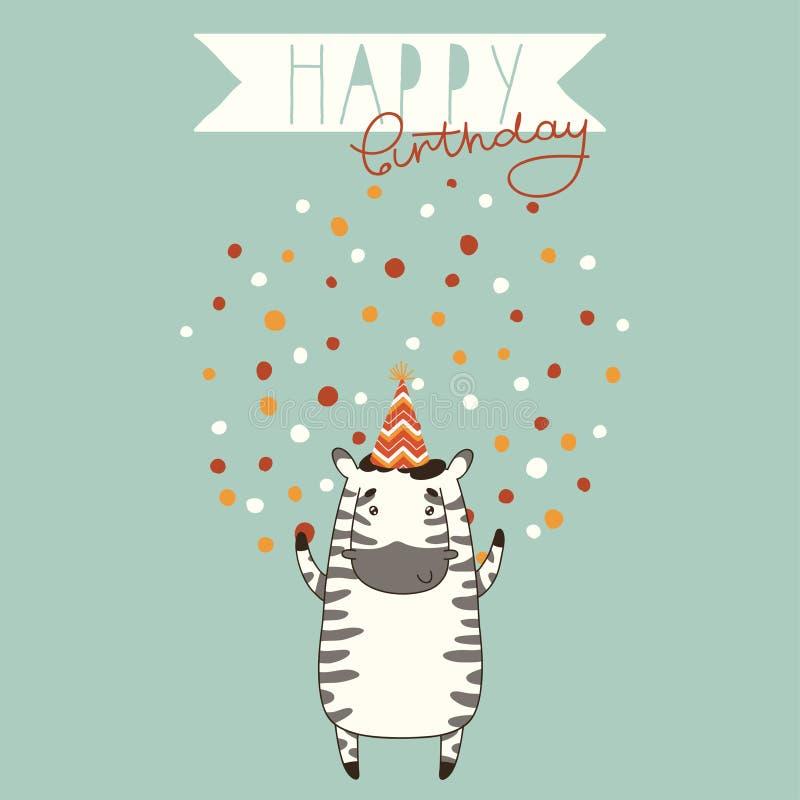 Fondo de la tarjeta del feliz cumpleaños con la cebra stock de ilustración