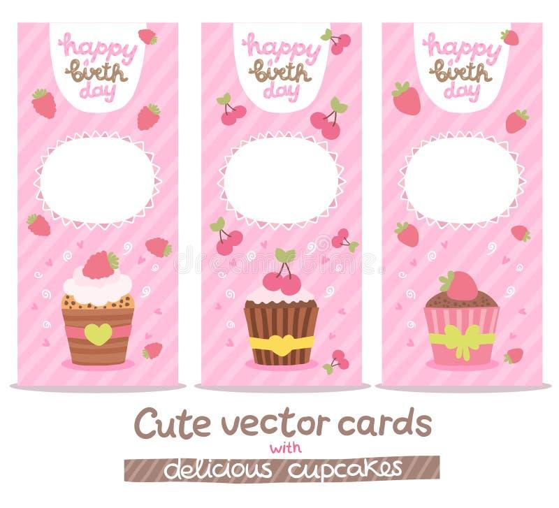 Fondo de la tarjeta del feliz cumpleaños con las magdalenas ilustración del vector