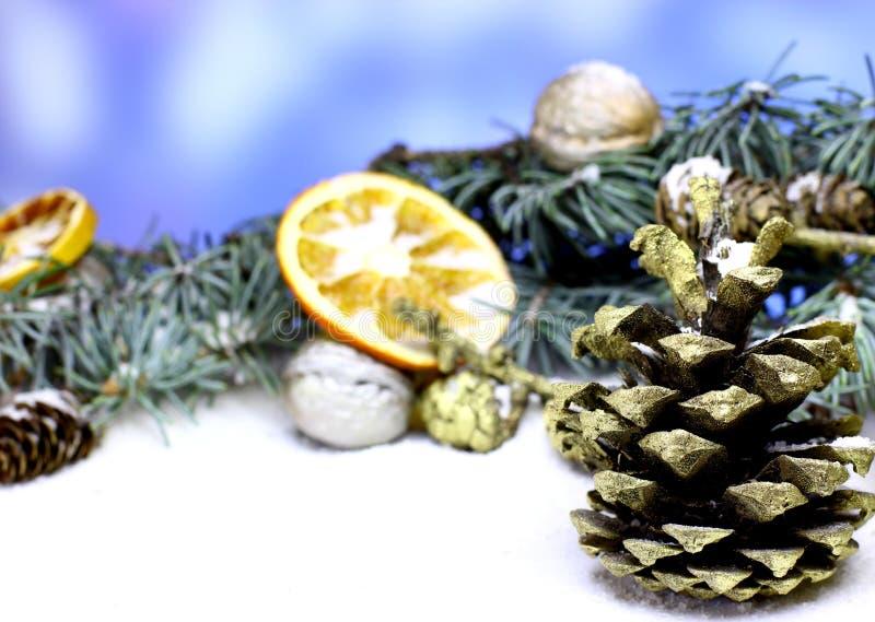 Fondo de la tarjeta del ` s del Año Nuevo con el cono del pino del abeto del oro de la Navidad foto de archivo libre de regalías