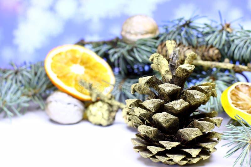 Fondo de la tarjeta del ` s del Año Nuevo con el cono del pino del abeto del oro de la Navidad imagenes de archivo