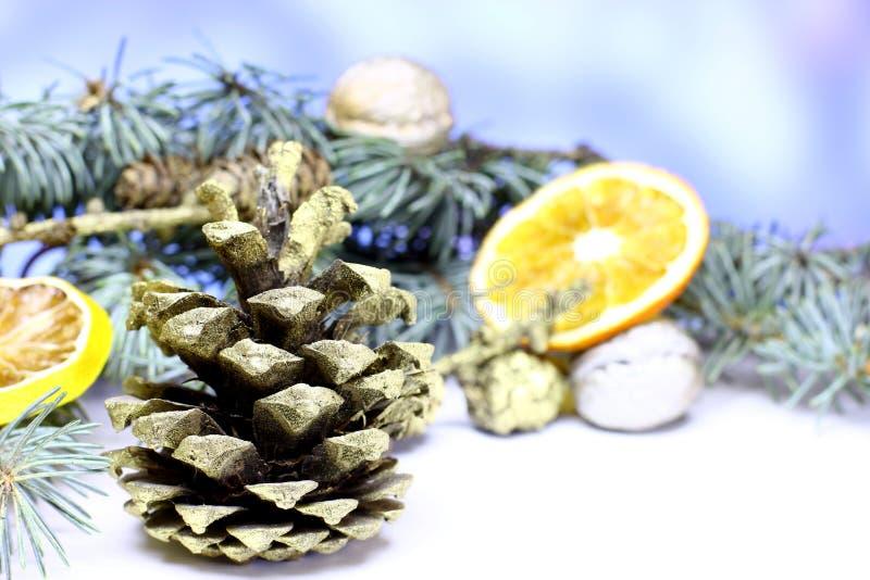 Fondo de la tarjeta del ` s del Año Nuevo con el cono del pino del abeto del oro de la Navidad fotografía de archivo