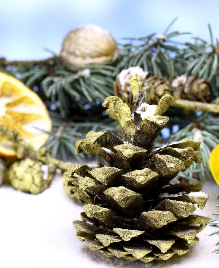 Fondo de la tarjeta del ` s del Año Nuevo con el cono del pino del abeto del oro de la Navidad fotos de archivo
