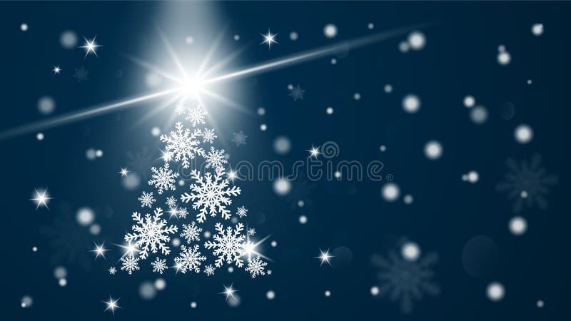 Fondo de la tarjeta de felicitaci?n de la Feliz Navidad y de la Feliz A?o Nuevo Árbol de los copos de nieve de la celebración de  stock de ilustración