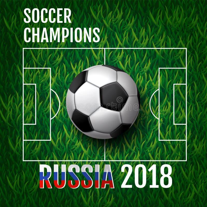 Fondo de la taza del campeonato del fútbol, fútbol, rusia 2018 stock de ilustración