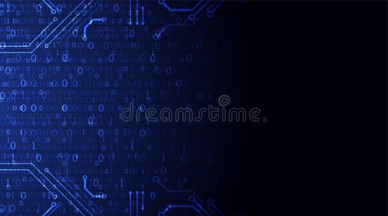 Fondo de la tecnología Código de ordenador binario Vector Illustratio ilustración del vector