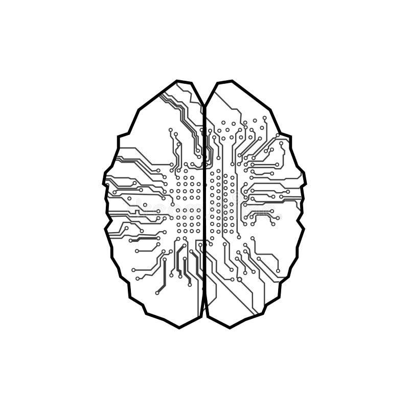 Fondo de la tecnología de circuito del cerebro Concepto de Digitaces IL ilustración del vector