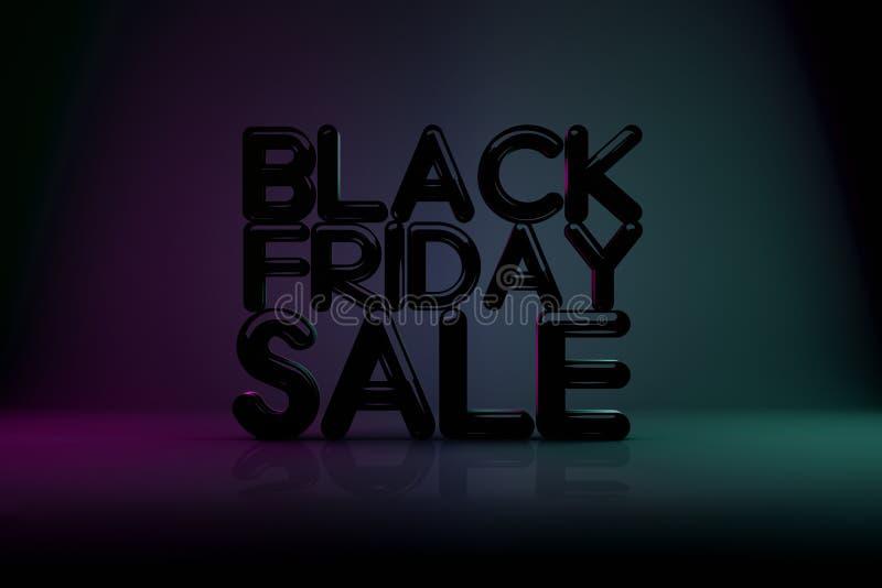 Fondo de la tecnología 3D de la venta de Black Friday con el fondo oscuro imagen de archivo libre de regalías
