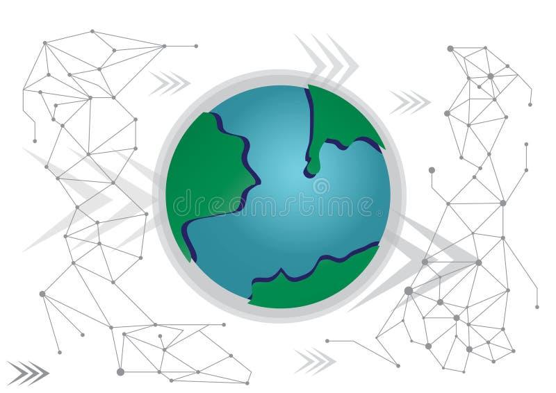 Fondo de la tecnología de red del negocio global stock de ilustración