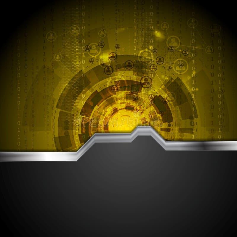 Fondo de la tecnología del concepto con la raya del metal stock de ilustración