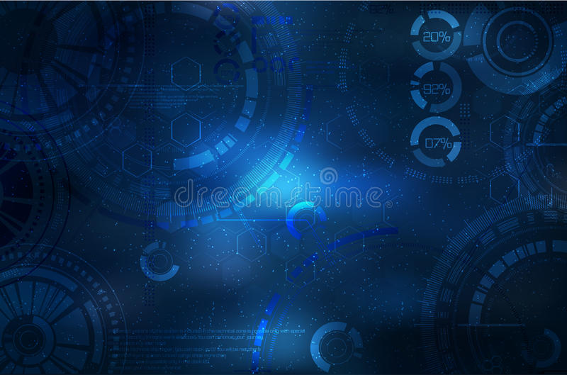 Fondo de la tecnología Elementos tecnológicos en el cielo ejemplo con el elemento del techno libre illustration