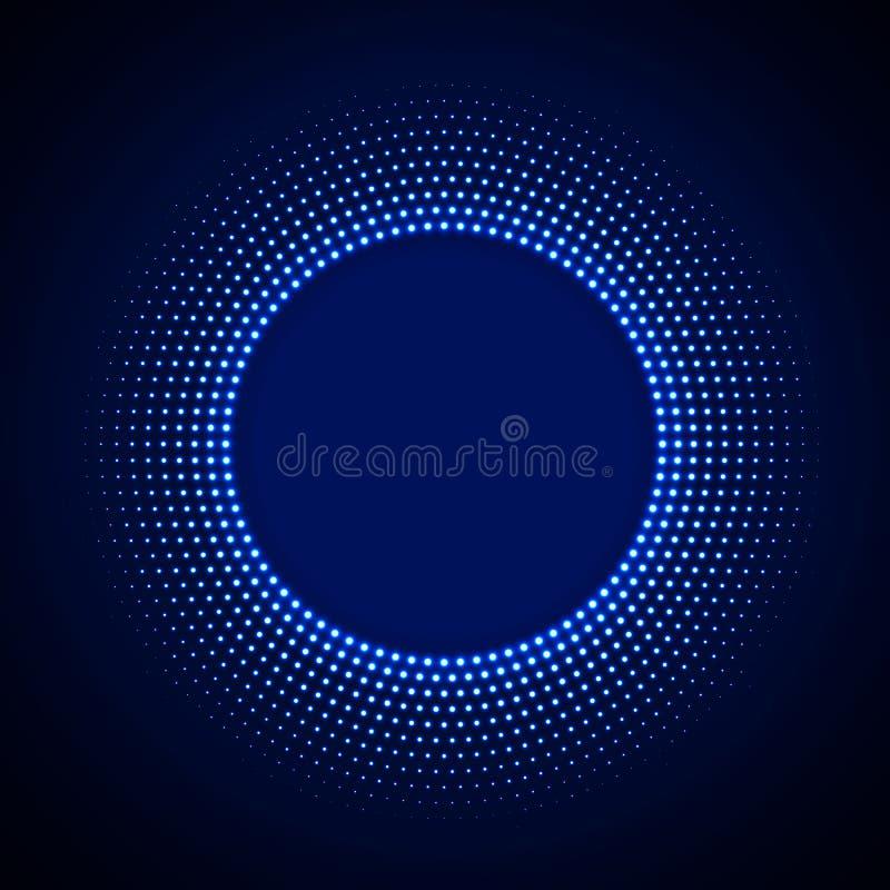 Fondo de la tecnología en el estilo de neón con el ornamento de semitono de neón del círculo que brilla intensamente Fondo abstra ilustración del vector