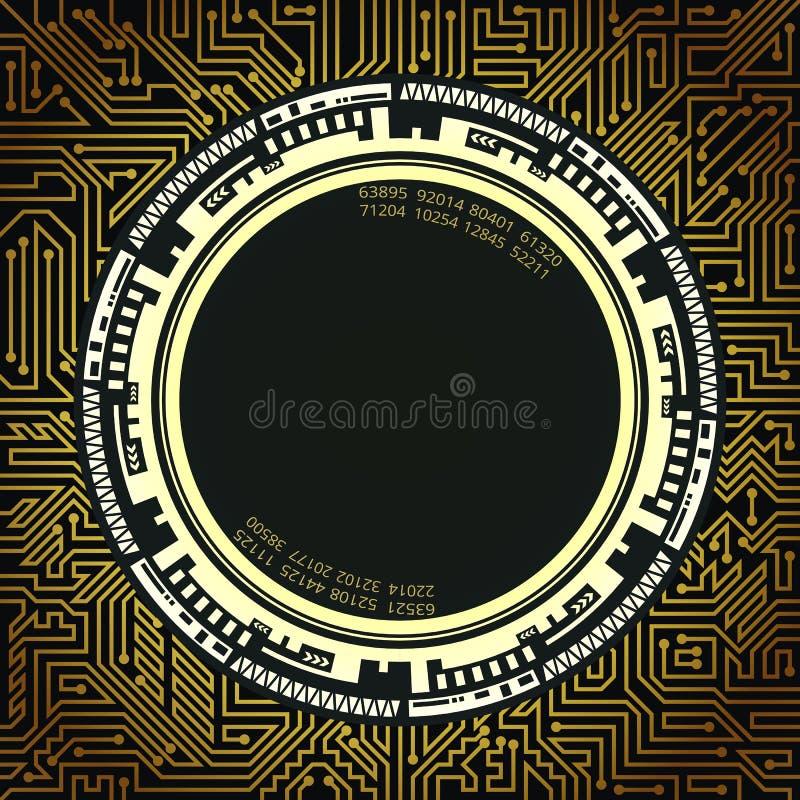 Fondo de la tecnología futurista en sombras negras, de oro y blancas libre illustration