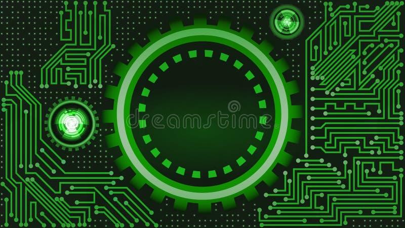 Fondo de la tecnología futurista en sombras verdes ilustración del vector