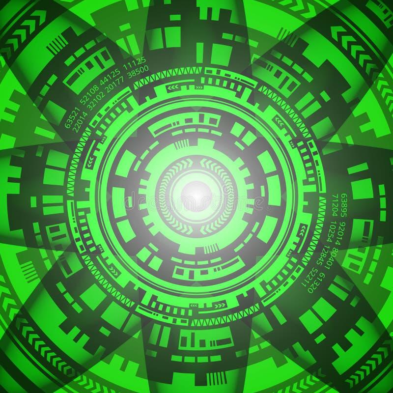 Fondo de la tecnología futurista en sombras verdes y grises Tecnología de Digitaces y diseño de concepto de la ingeniería stock de ilustración