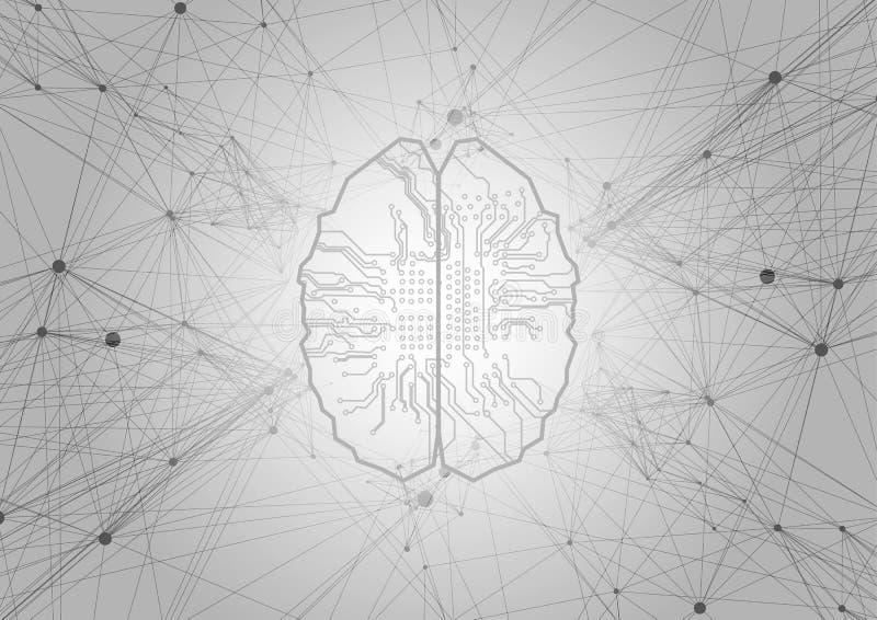 Fondo de la tecnología de inteligencia artificial Fondo de la red neuronal Diseño del vector del ejemplo ilustración del vector