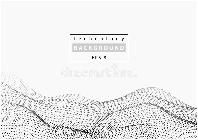 Fondo de la tecnología de la onda con los puntos de conexión stock de ilustración