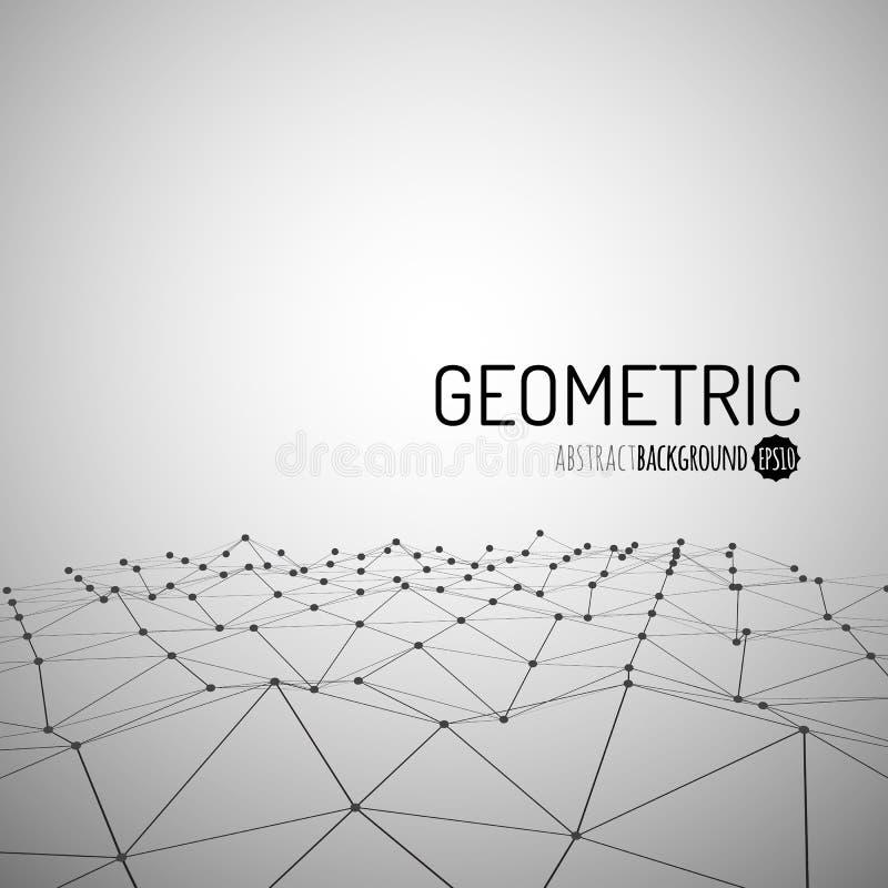 Fondo de la tecnología Paisaje poligonal de Wireframe Montañas con las líneas y los puntos conectados stock de ilustración