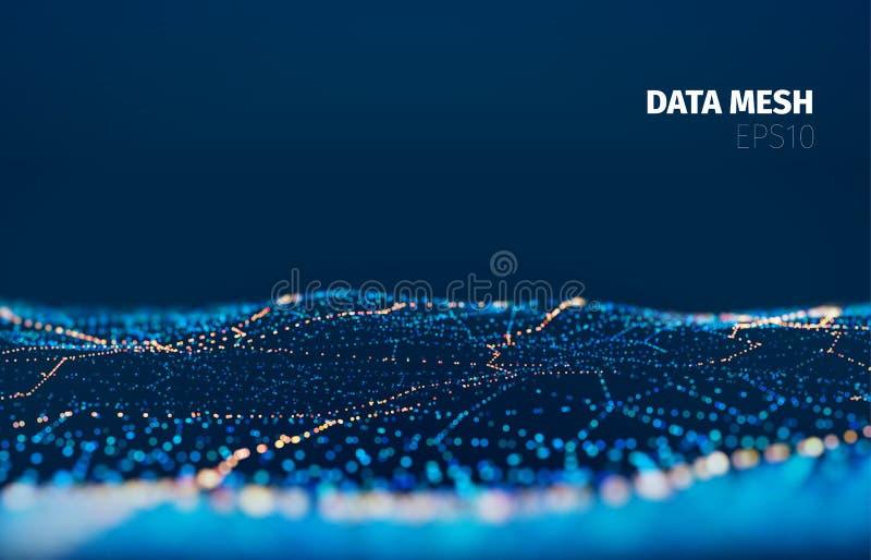 Fondo de la tecnología de la rejilla de la partícula del vector Los datos enredan la superficie Luz de la noche del paisaje libre illustration