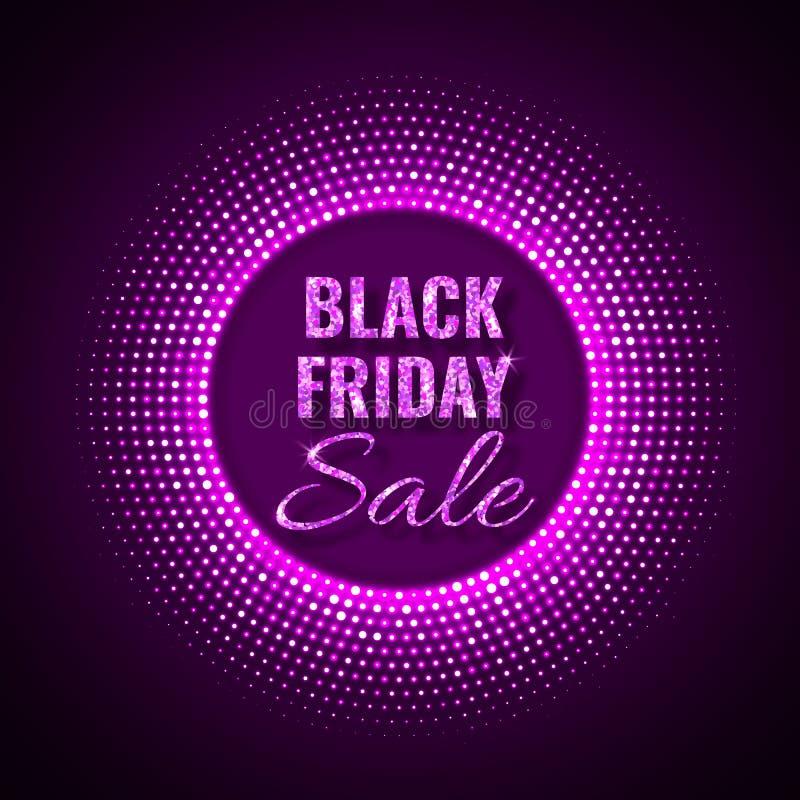 Fondo de la tecnología de la venta de Black Friday en el estilo de neón con el ornamento de semitono de neón del círculo que bril libre illustration