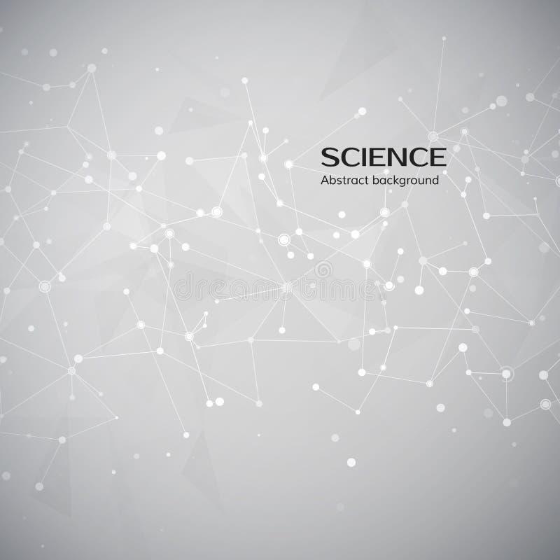 Fondo de la tecnología y de la ciencia Web y nodos abstractos Estructura del átomo del plexo Ilustración del vector ilustración del vector