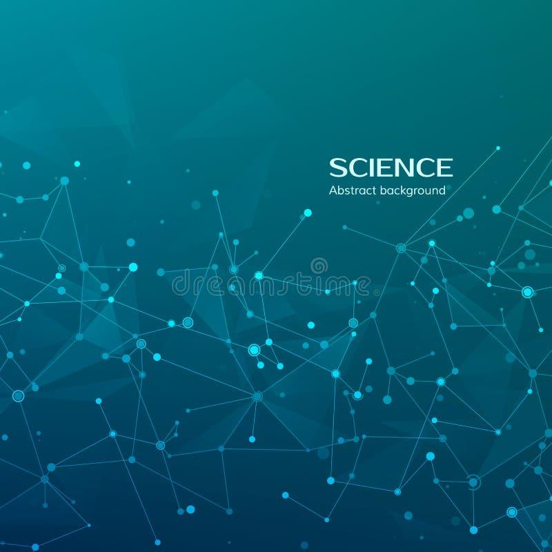 Fondo de la tecnología y de la ciencia Web y nodos abstractos Fondo médico Estructura del átomo del plexo Ilustración del vector ilustración del vector