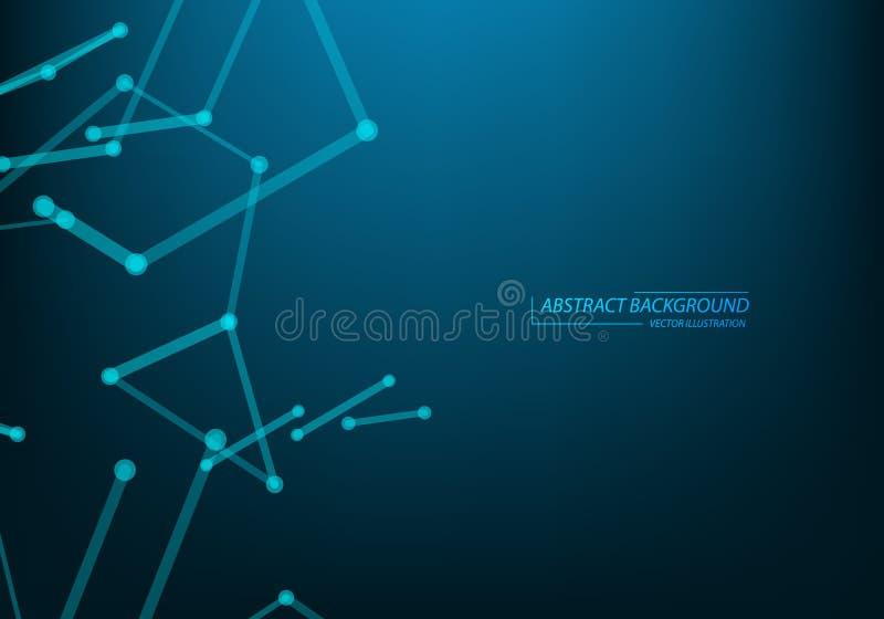 Fondo de la tecnolog?a y de la ciencia Web y nodos abstractos Cubierta de la bandera de la plantilla del negocio Fondo m?dico Áto ilustración del vector