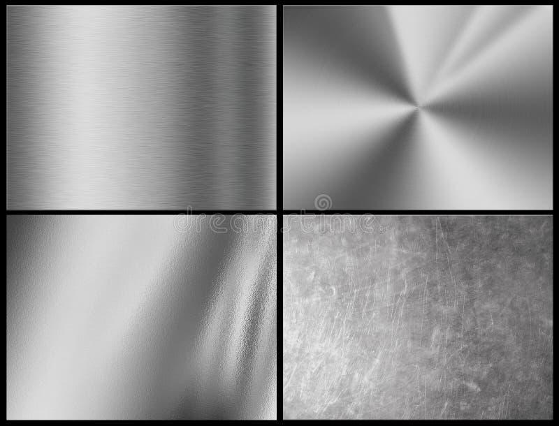 Fondo de la textura de la plata del metal, textura del cromo stock de ilustración