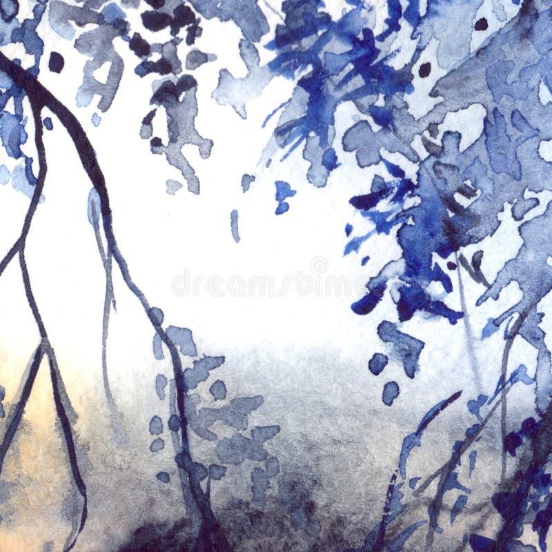 Fondo de la textura del extracto del follaje de los azules marinos de la acuarela libre illustration