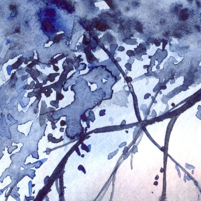 Fondo de la textura del extracto del follaje de los azules marinos de la acuarela ilustración del vector