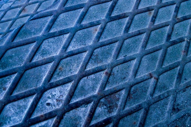 Fondo de la textura del metal Modelo azul del grunge del tinte Segmento de acero industrial de la hoja de la construcción Opinión fotos de archivo libres de regalías