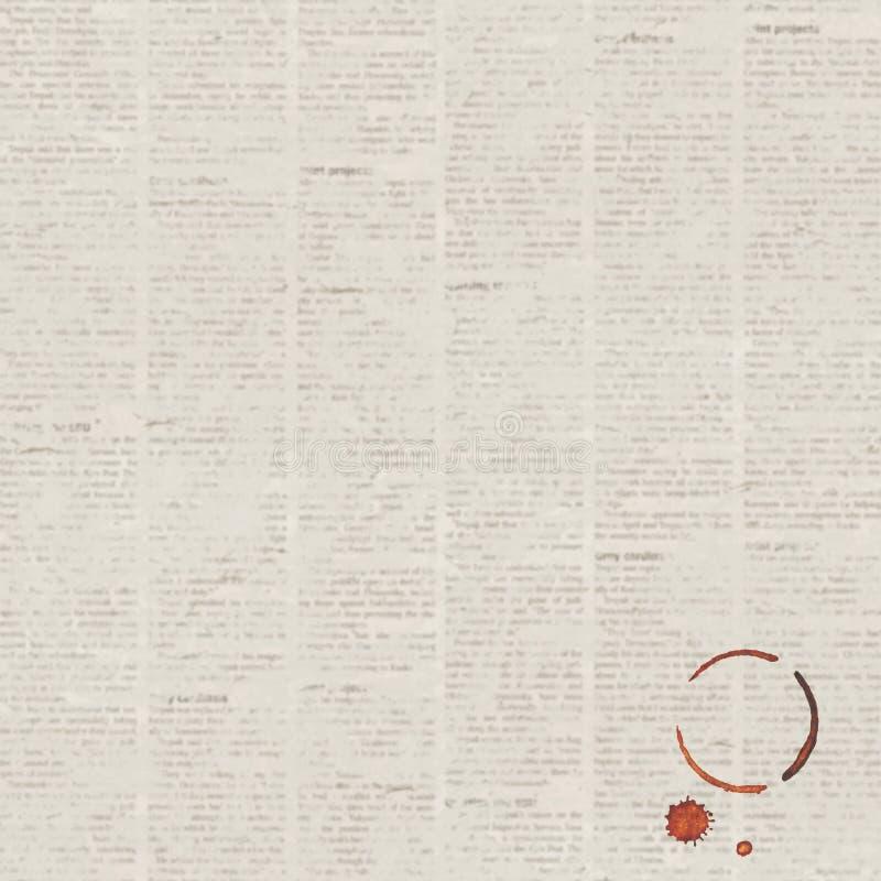 Fondo de la textura del periódico del grunge del vintage con el rastro de la taza de café libre illustration