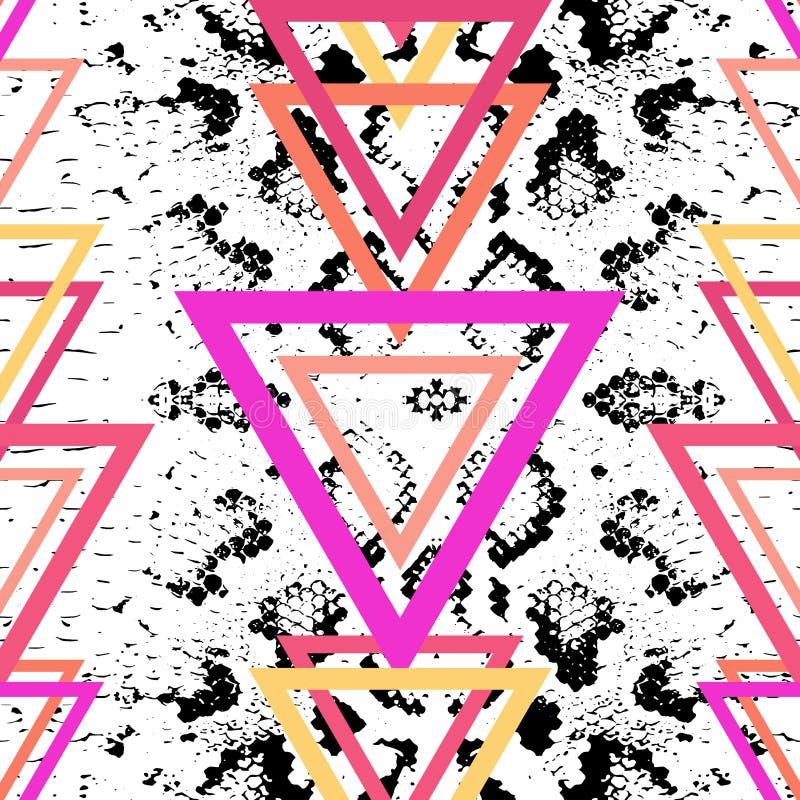 Fondo de la textura de la piel de serpiente fondo de moda moderno púrpura de la lila anaranjada rosada magenta negra brillante Mo ilustración del vector