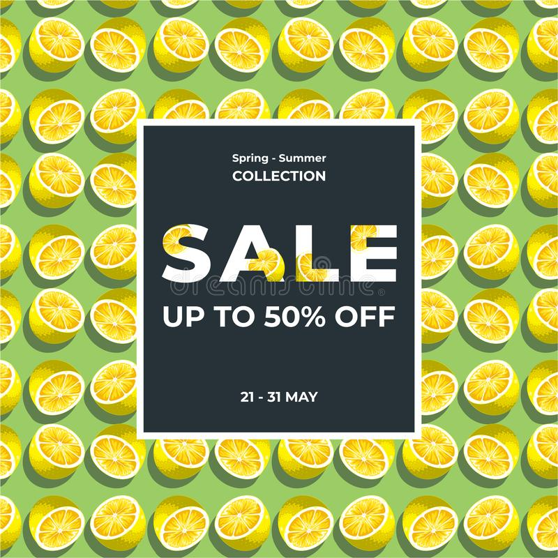 Fondo de la textura de la rebanada del limón Diseño de la plantilla de la bandera de la venta del verano el 50% Oferta especial d ilustración del vector