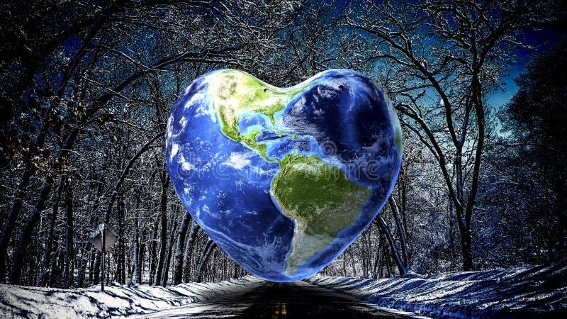 Fondo de la tierra de la forma del corazón fotos de archivo