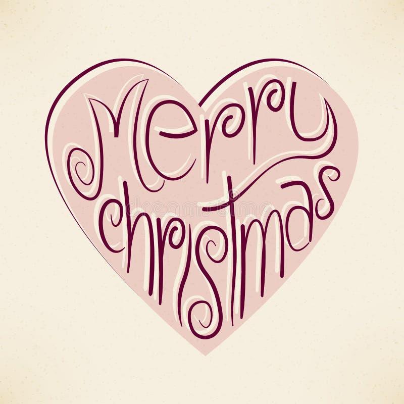Fondo de la tipografía del corazón de la Navidad del vector libre illustration